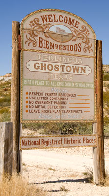 Sign for the Ghost Town.